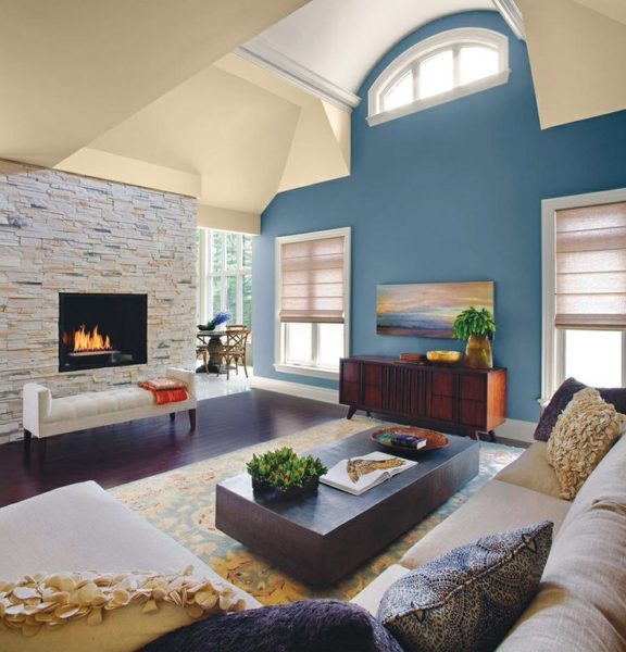Amazing Living Area With Blue Accent Wall Color Styles