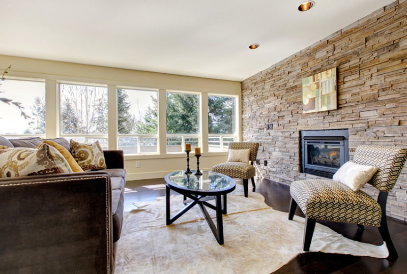 Pleasing Stone Accent Walls In Living Rooms Rustic Wall Ideas