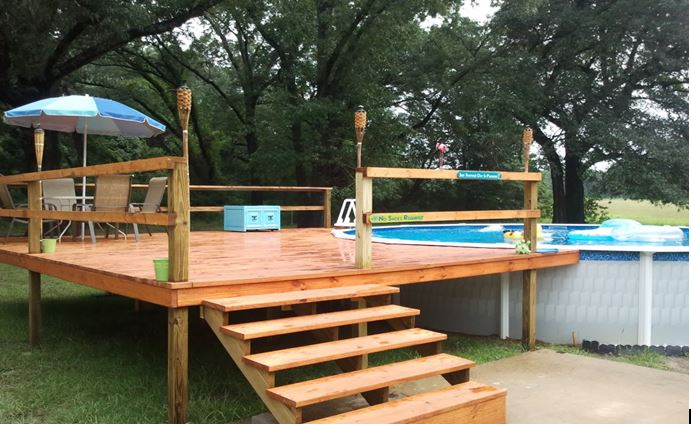 small deck ideas for above ground pools