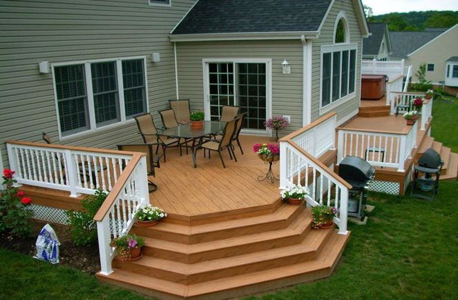 small deck ideas with fire pit
