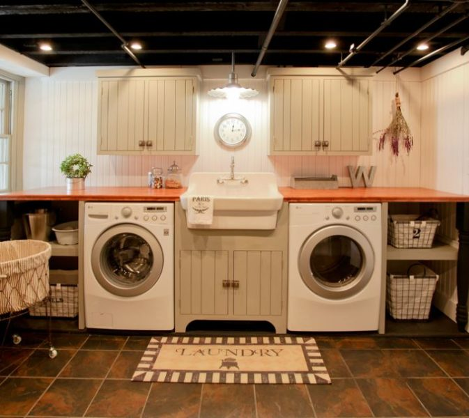 old basement laundry room makeover