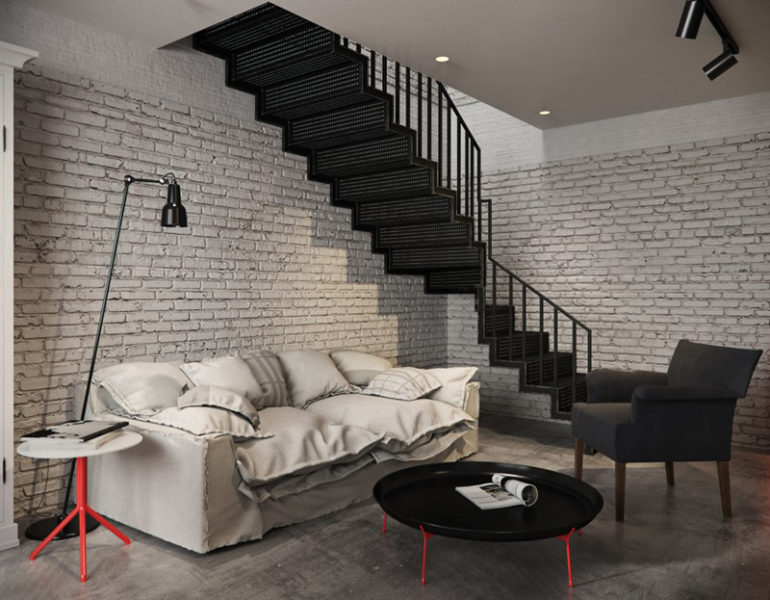 Loft Dreamcatcher White Brick Wall Texture Exposed Living Room Ideas
