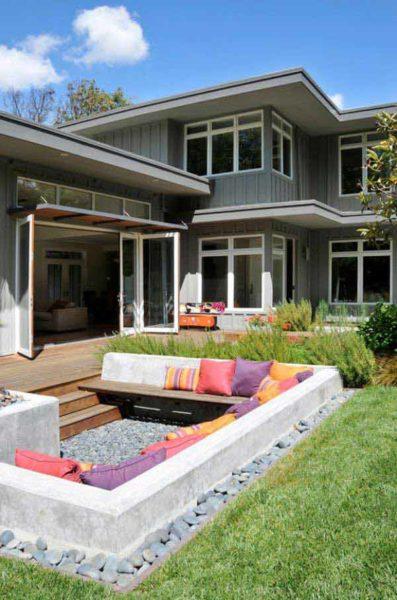 sunken outdoor living room