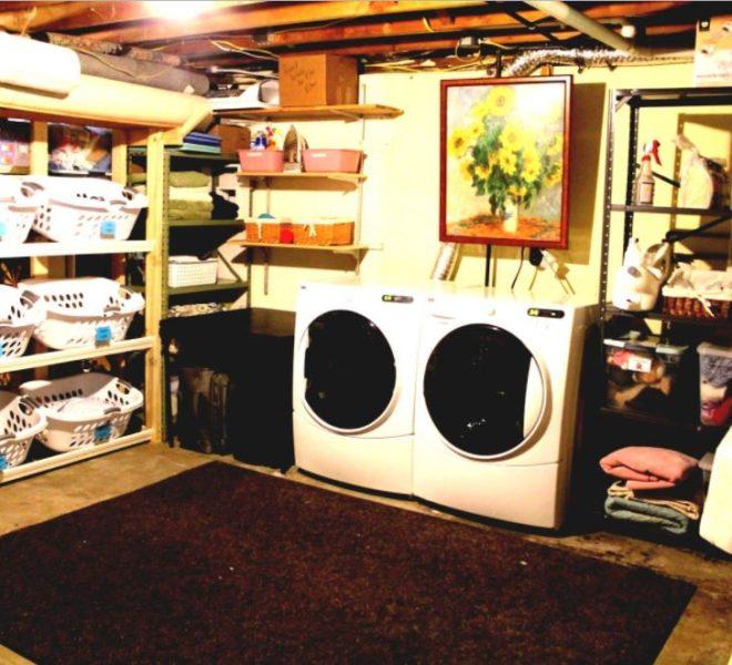 organizing a basement laundry room