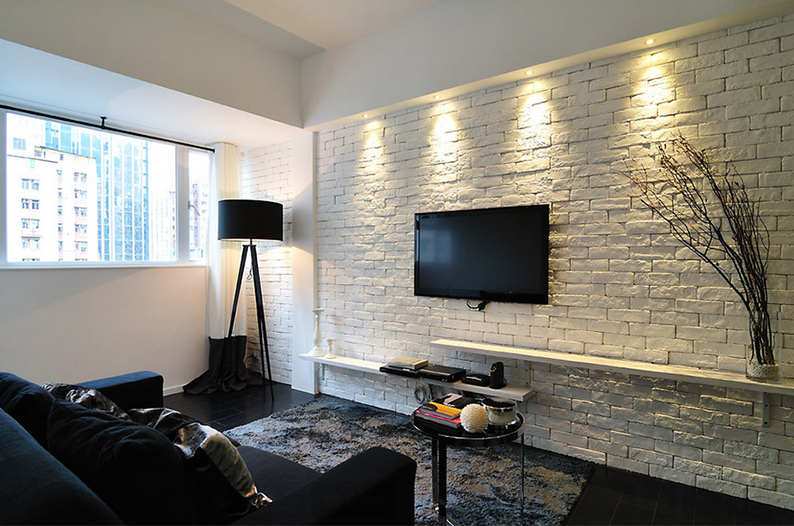 Living Areas White Brick Wall Background Treatment Ideas