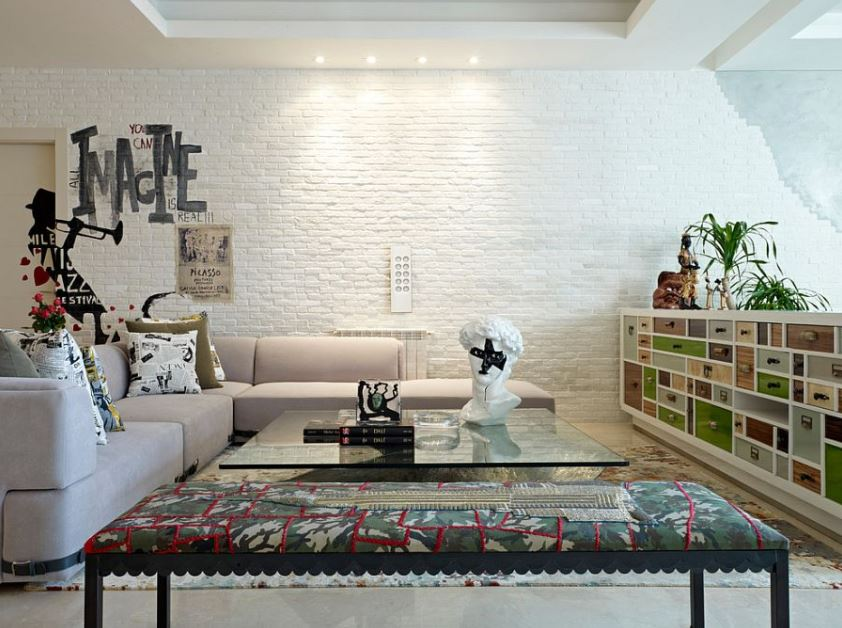 30 best ideas about living rooms with white brick walls - White walls living room ...