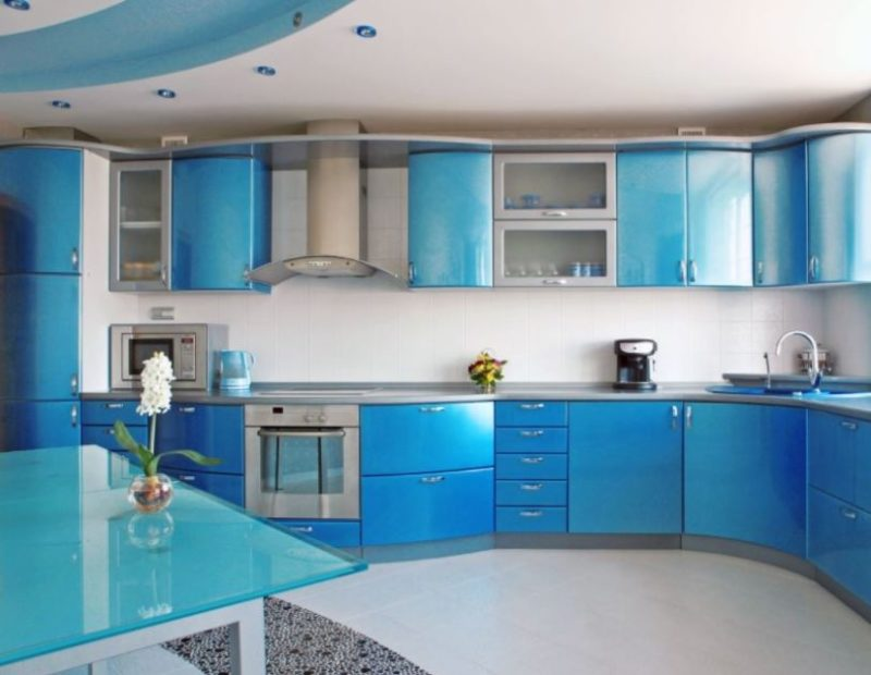 A Shiny Blue And Grey Kitchen Cabinet For Calming Comforting Atmosphere